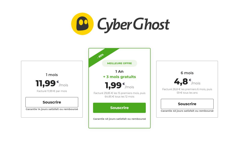 Cyberghost VPN offre actuellement 3 mois sur l'abonnement annuel (1,99 €/mois)