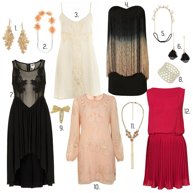 robe accessoires années 20 bijoux topshop miss selfridges