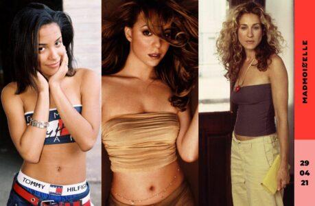 La chanteuse Aaliyah en bandeau Tommy Hilfiger, la chanteuse Mariah Carey en bustier de velours en couverture de son album Honey, et l'actrice Sarah Jessica Parker dans la série Sex and the City en tube top marron.