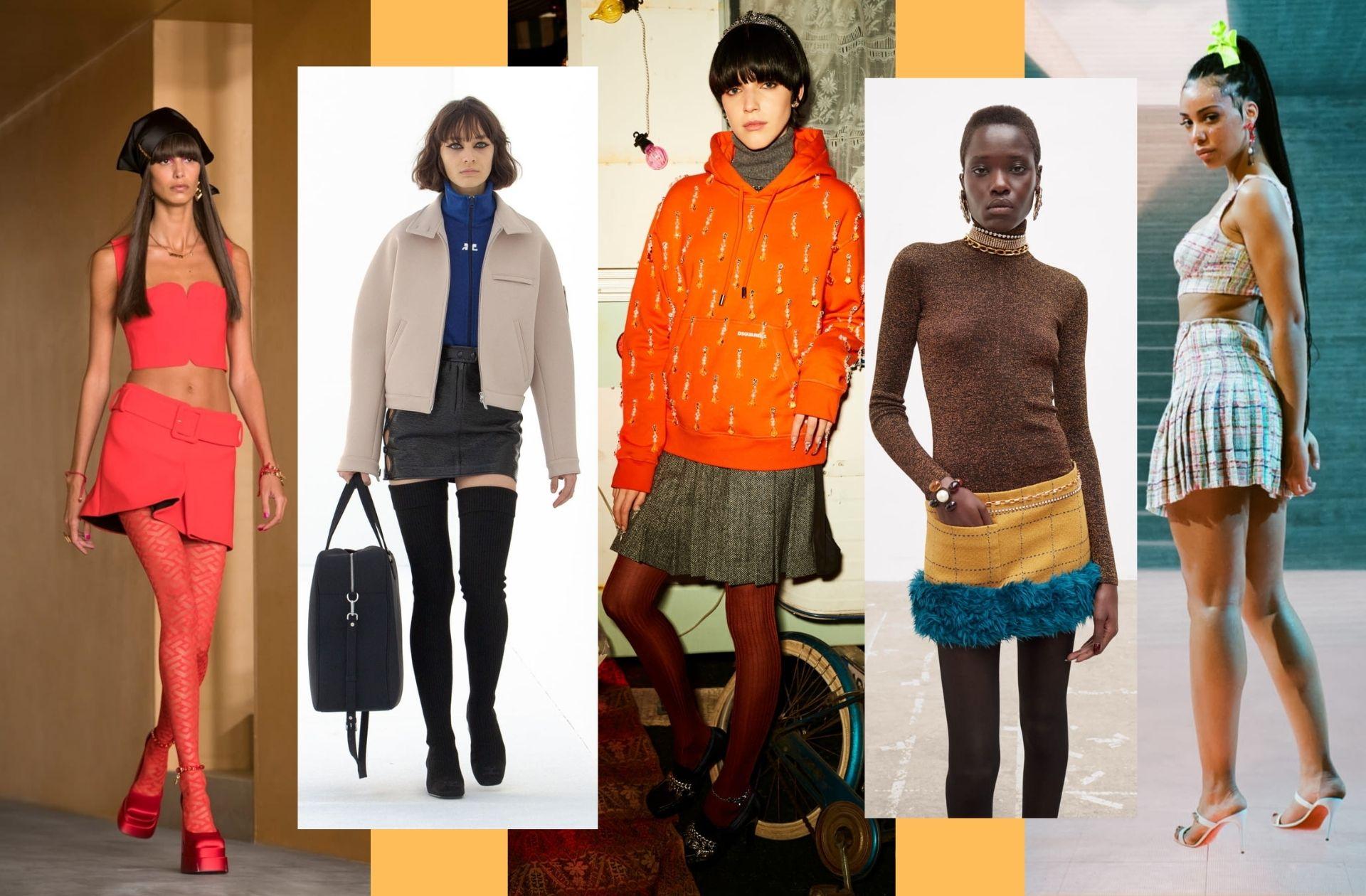 La mini-jupe sixties aperçue chez Versace, Courrèges, Dsquared2, Saint Laurent, ou encore Lecourt Mansion.