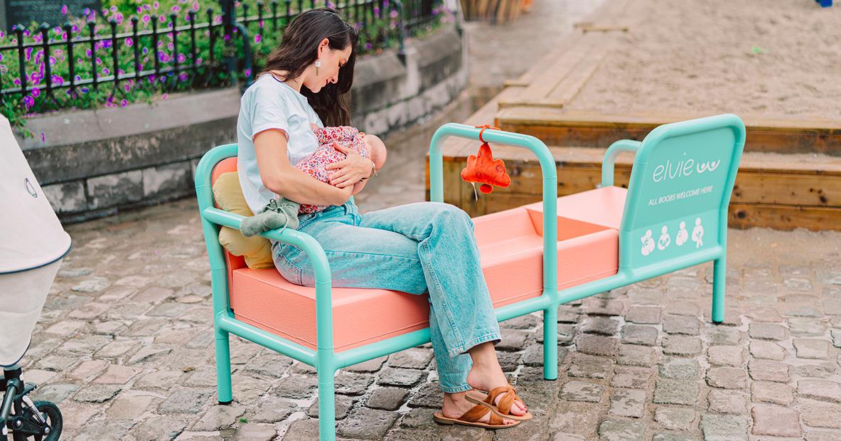 Un banc spécial allaitement?Les Belges ont tout pigé