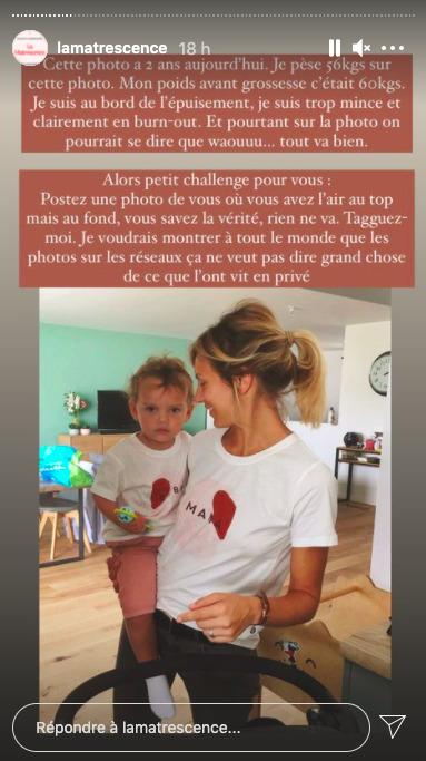 Capture d'écran de la story de Clémentine Sarlat sur son compte Instagram
