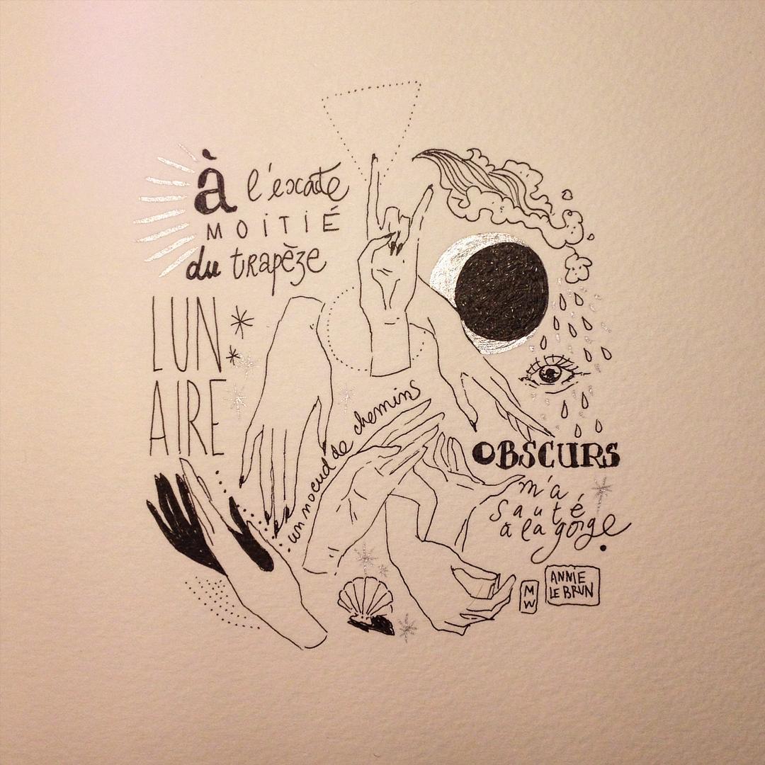 Un vers d'Annie Le Brun par Diglee (Instagram)