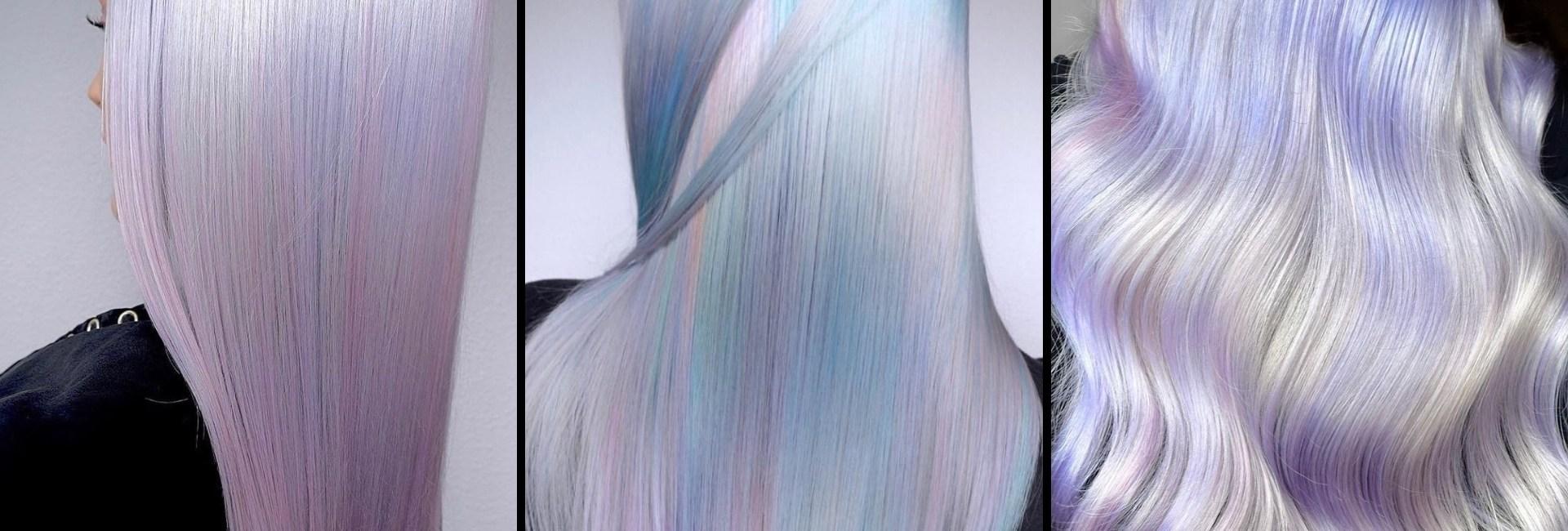 Trois exemples de chevelures avec une coloration d'inspiration holographique