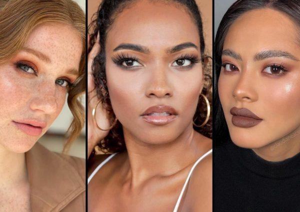 Trois femmes portant la tendance maquillage monochrome
